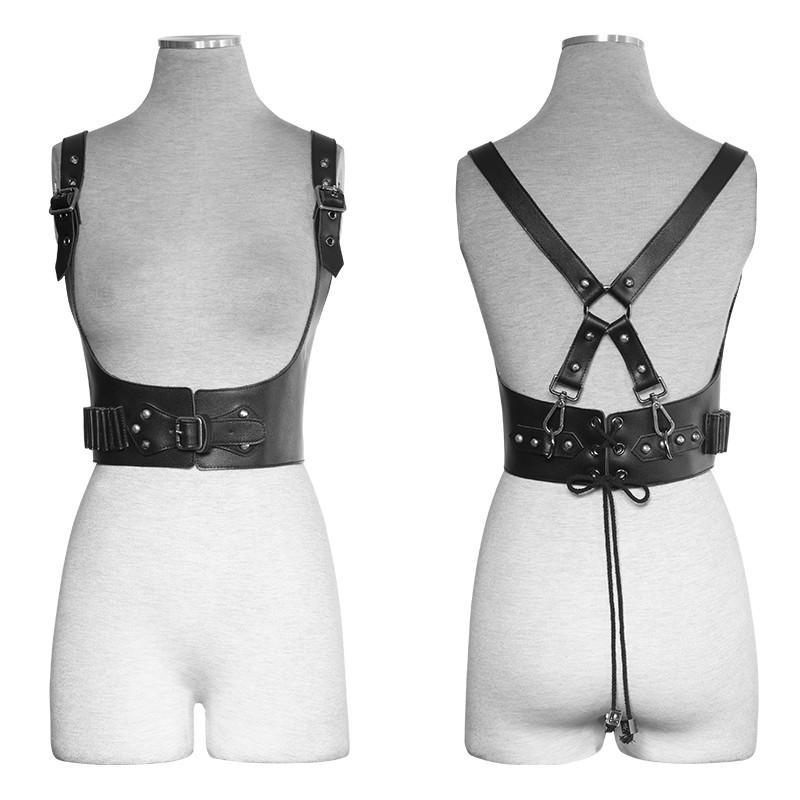 PUNK RAVE Women's Military Sniper Faux Leather Straps Belts Harness