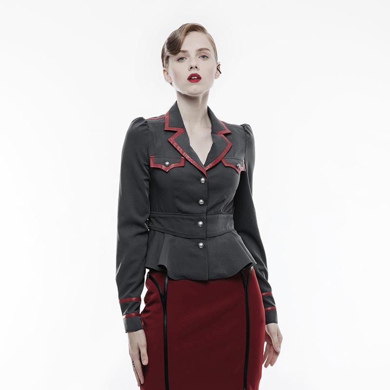 Women's Military Uniform Turn-down Collar Jacket Y824-Punk Design