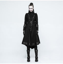 Women's Military Uniform Worsted Long Coat With Belt-Punk Design