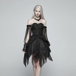 Women's Multilayered Chiffon Punk Dress Black-Punk Design