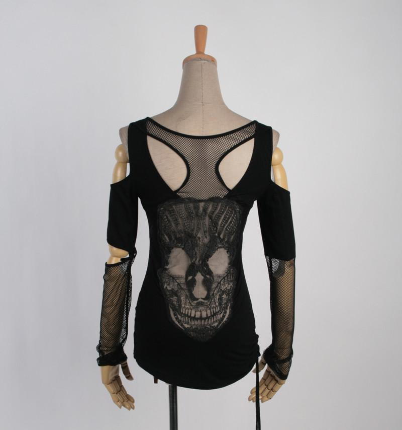 Women's Off Shoulder Cutout Skull Mesh Tops-Punk Design