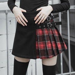 Women's Plaid Colorblock Buckle Deco Wrap Pleated Skirt-Punk Design