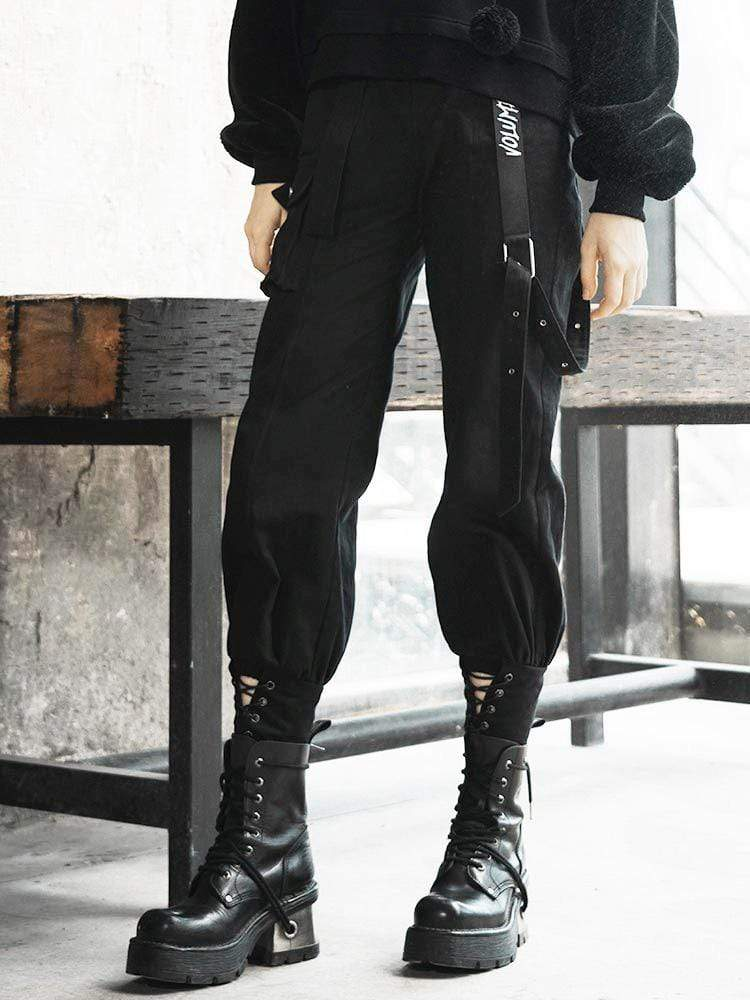 select for latest online sale yet not vulgar Women's Punk Ankle Banded Cargo Pants With Belts - Punk Design