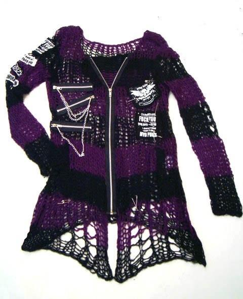 Women's Punk Applique Contrast Ripped Crocheted Cardigan-Punk Design