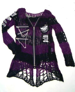 PUNK RAVE Women's Punk Applique Contrast Ripped Crocheted Cardigan