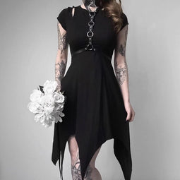 Frauen Punk Asymmetrische Cold Shoulder Dress-Punk Design