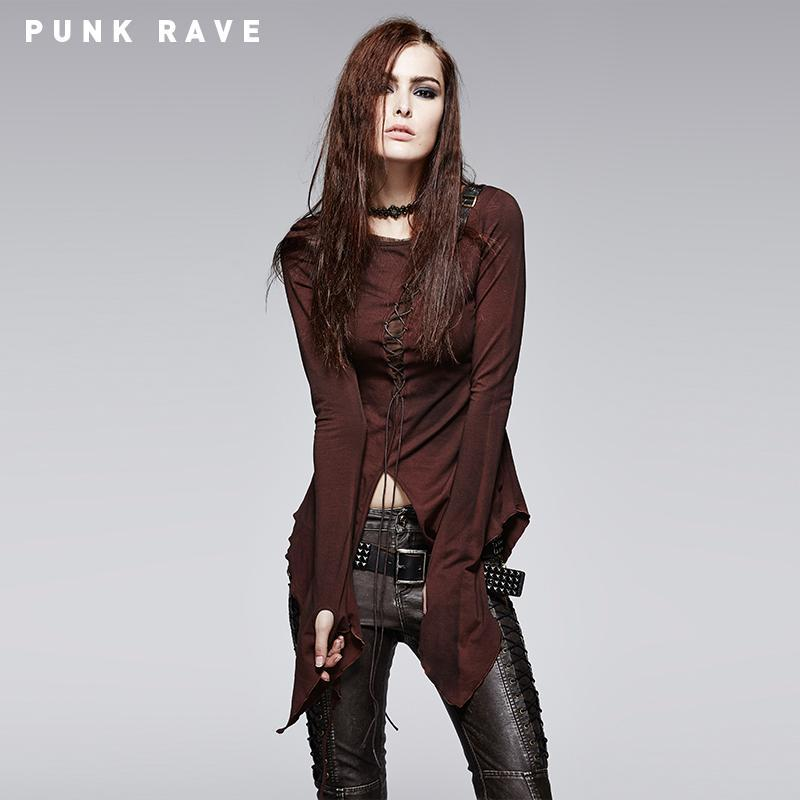Women's Punk Asymmetrical Lace Up Flare Sleeve Tops-Punk Design
