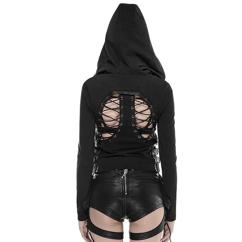 Women's Punk Backless Hooded Coat Black-Punk Design