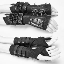 Women's Punk Buckle Rivet Black Gloves-Punk Design