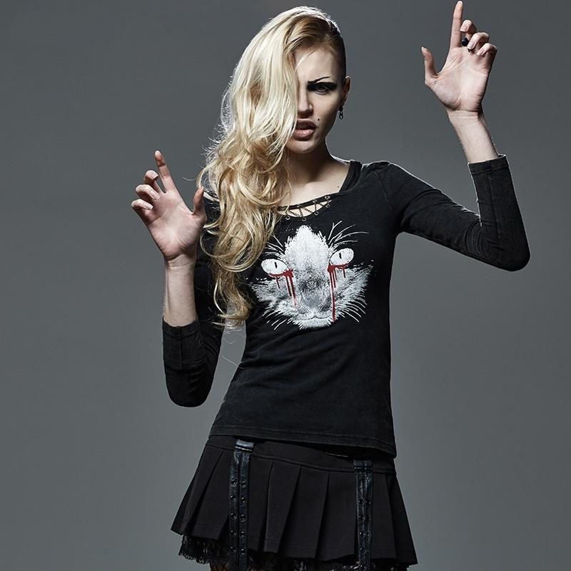 Women's Punk Cat printed Metal Chain long sleeved T-shirts-Punk Design
