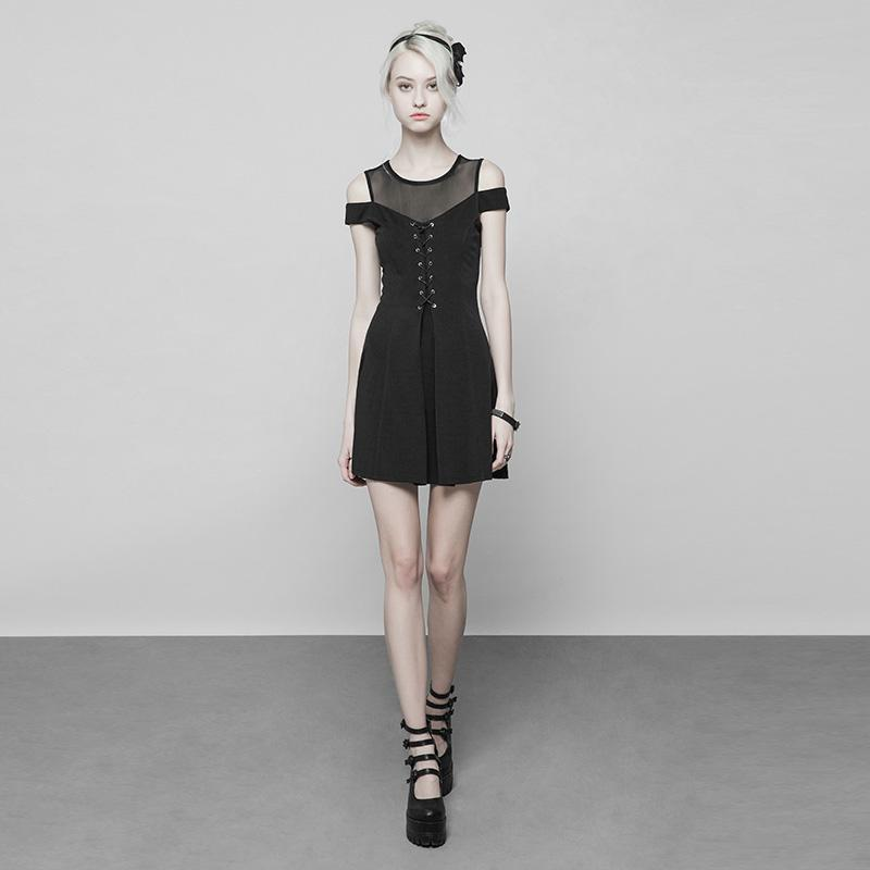 Women's Punk Cold Shoulder Lacing Detailed Short Dress-Punk Design