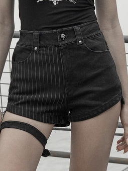 PUNK RAVE Women's Punk Denim Hot Shorts With Detachable Garter