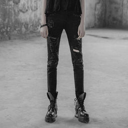 PUNK RAVE Women's Punk Distressed Slim-Fit Trousers