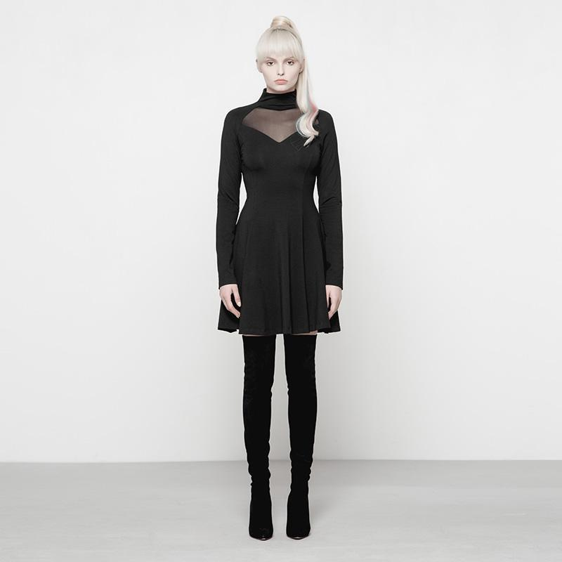 Women's Punk Dress With Lace Inlay-Punk Design