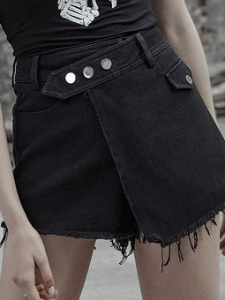 PUNK RAVE Women's Punk Fake Two Piece Denim Hot Shorts