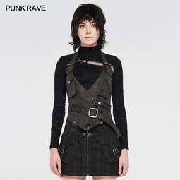 Punk Rave Women's Punk Faux Leather Halter Tops