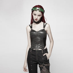 Women's Punk Faux Leather Halterneck Front Zipper Overbust Corsets-Punk Design
