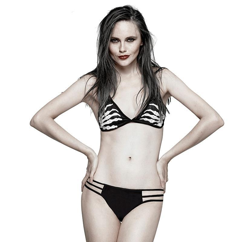 Women's Punk Ghost Hand Printed Bikini Sets-Punk Design