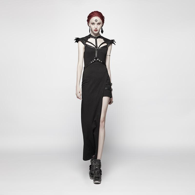 Women's Punk Halterneck Side Slit Slip Day Dress With Girdle-Punk Design