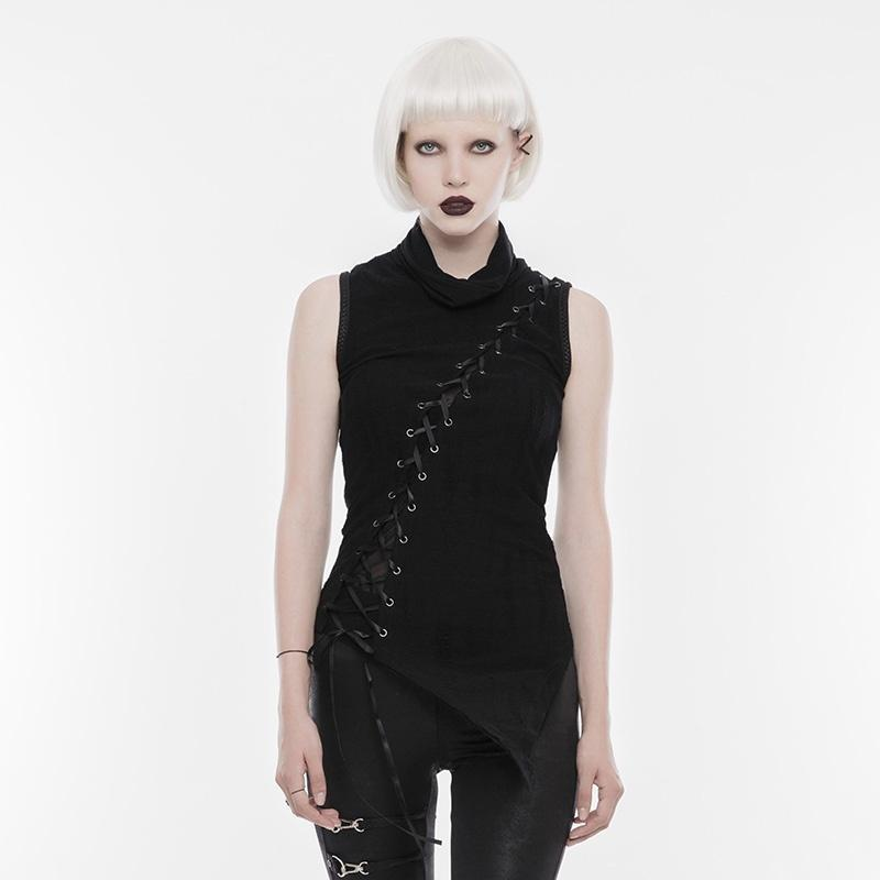 Women's Punk High Collar Sharp-angle Broken Seam Sleeveless T-shirt-Punk Design