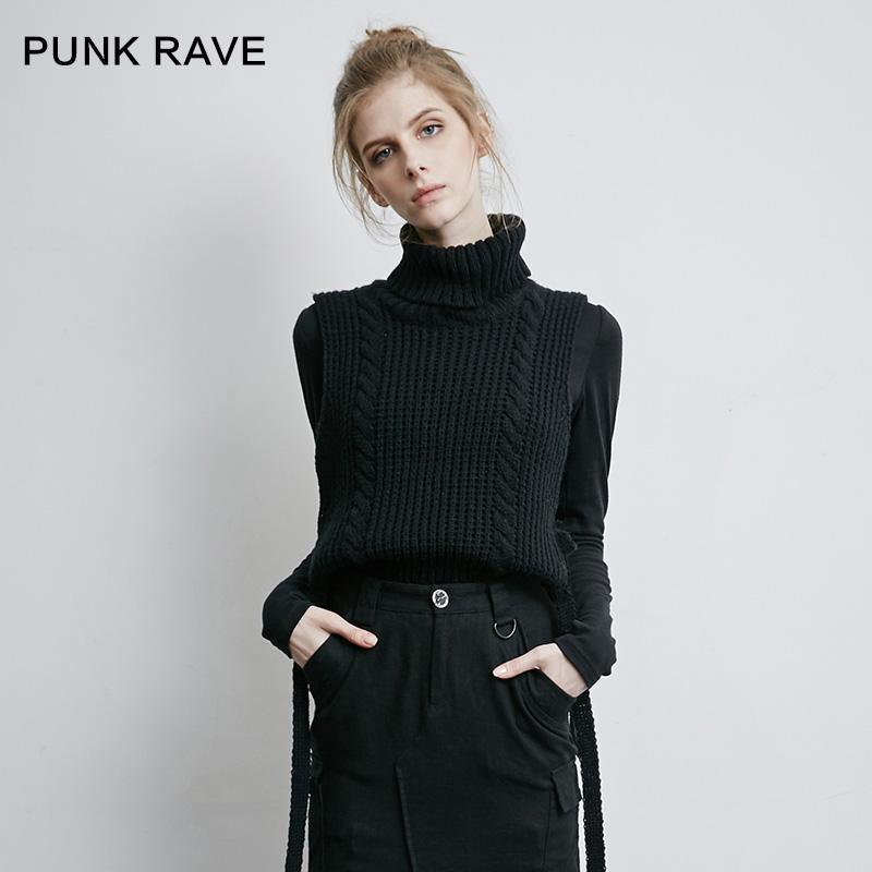 Women's Punk High-Necked Knitted Vest-Punk Design