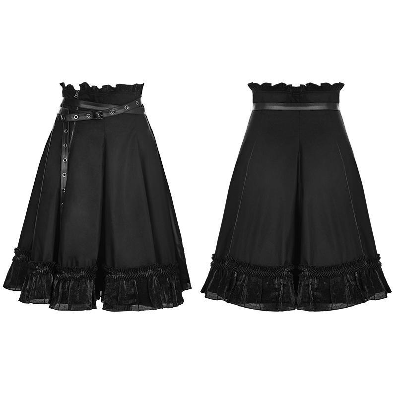 Women's Punk High Waist Short Skirt With Belt-Punk Design