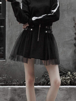 PUNK RAVE Women's Punk High-Waisted Black Skirt With Yarn Ruffles