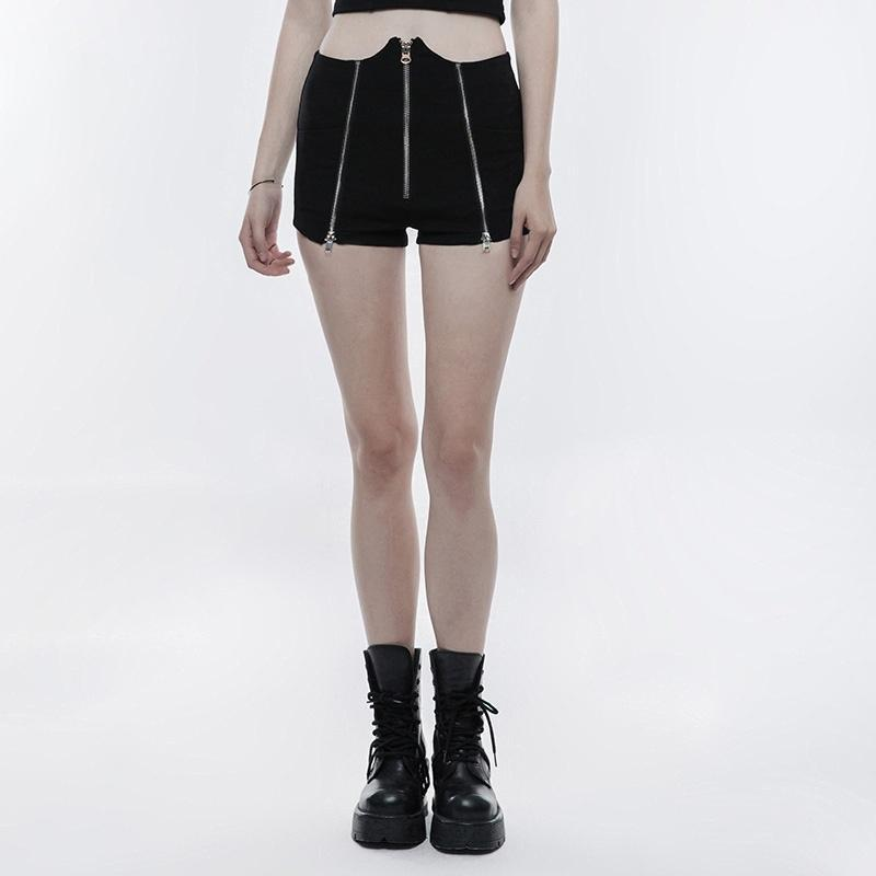 Women's Punk High Waisted Zipper Deco Short Pants-Punk Design