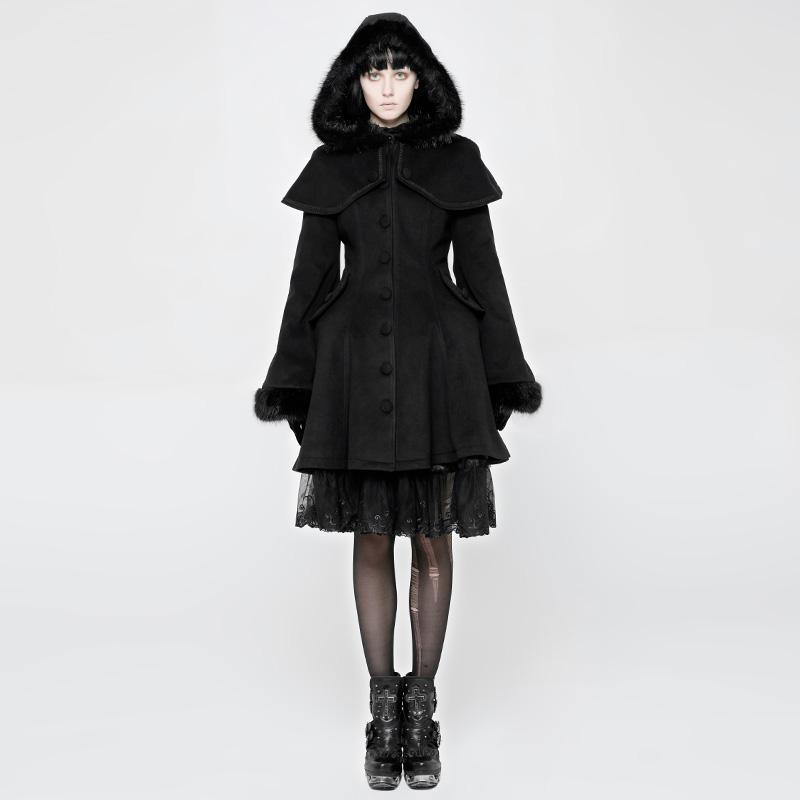 Women's Punk Hooded Frock Coat-Punk Design
