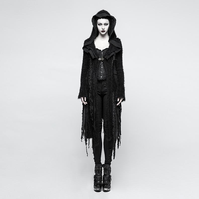 Women's Punk Hooded Irregular Ripped Mohair Overcoat-Punk Design