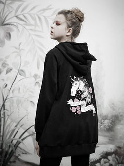 Punk Rave Women's Punk Horse Printed Long Hoodies With Hair Bulbs