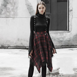 Women's Punk Irregular Red Plaid Mesh Skirts With Suspenders-Punk Design