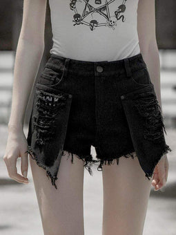 PUNK RAVE Women's Punk Irregular Ripped Hot Shorts