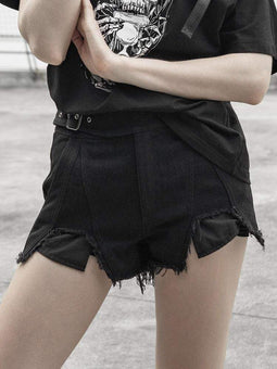 Women's Punk Irregular Ripped Shorts-Punk Design