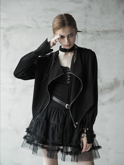 Women's Punk Irregular Strappy Zipper Batwing Sleeved Jacket-Punk Design