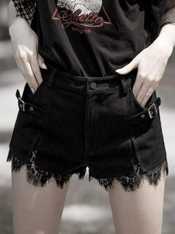 PUNK RAVE Women's Punk Lace Frilled Denim Hot Shorts