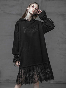 Women's Punk Lace Long-Sleeved Hooded Maxi T-shirt-Punk Design