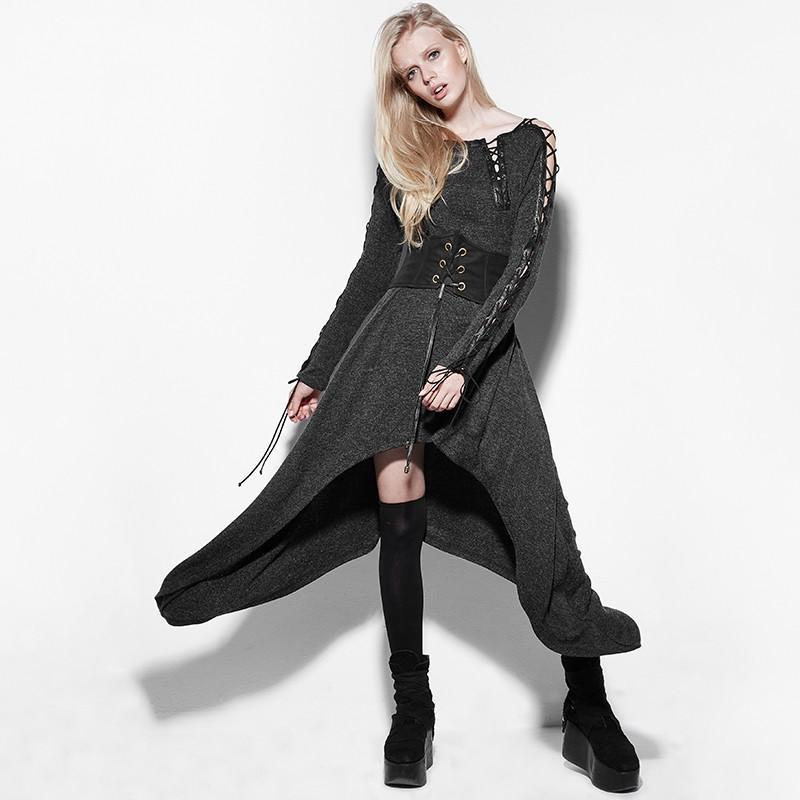 Women's Punk Lace-up Long Sleeves Irregular Knitted Maxi Dress-Punk Design