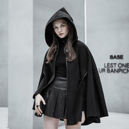 Women's Punk Layered Zipper Hooded Cape Coat with Pocket-Punk Design