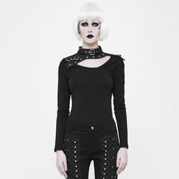 Women's Punk Leather Trimmed Top-Punk Design
