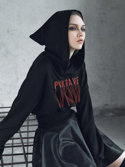Women's Punk Long-sleeved Loose Embroidered Witch Hoodies-Punk Design