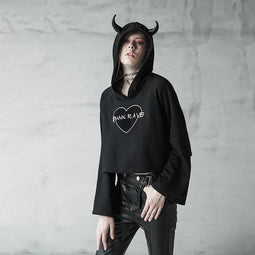 Women's Punk Loose Heart-Shaped Horned Hoodies-Punk Design