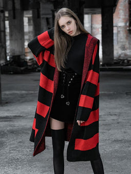 Women's Punk Loose Stripes Long-Sleeve Hooded Cardigan-Punk Design