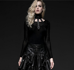 Women's Punk Mesh Long Sleeved Tops With Faux Leather Choker-Punk Design