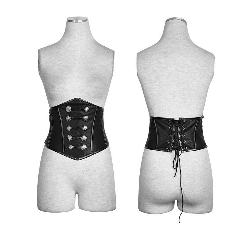 Women's Punk Military Double Breasted Lace Up Faux Leather Underbust Corsets - PunkDesign