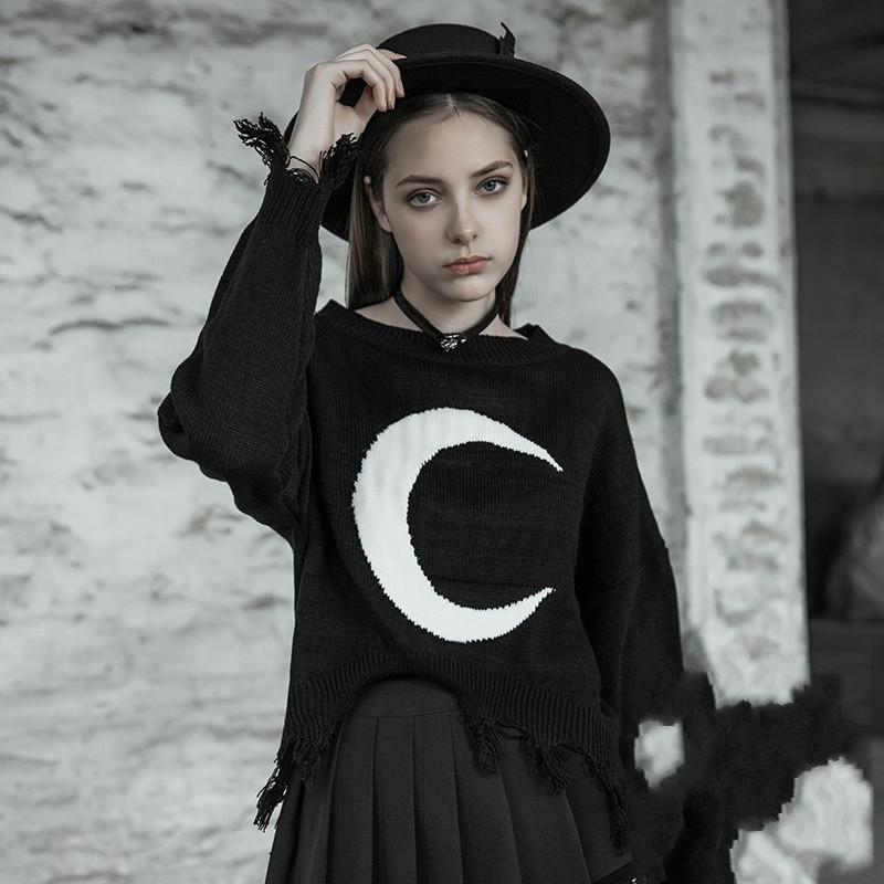Women's Punk Moon Knitted Sweater With Irregular Fringes-Punk Design