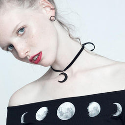 Women's Punk Moon Necklace Choker-Punk Design