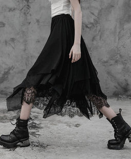 Frauen Punk Multilayer Lace Maxi Röcke-Punk-Design