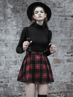 Women's Punk Plaid Printed A-line Strap Skirt-Punk Design