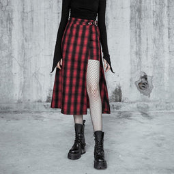 Women's Punk Plaid Printed Fake Two Pieces Slit Wrap Skirt-Punk Design